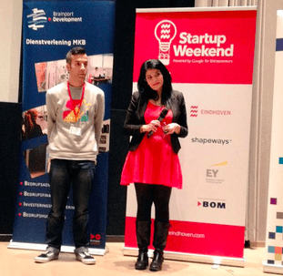 Nadia Kadri and her startup weekend partner Boeng Ronkes from Dynamo Academy during Q&A