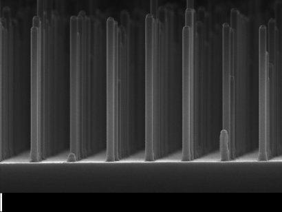 Het rooster met nanodraden galliumfosfide, gemaakt met een elektronenmicroscoop. Foto: TU Eindhoven.