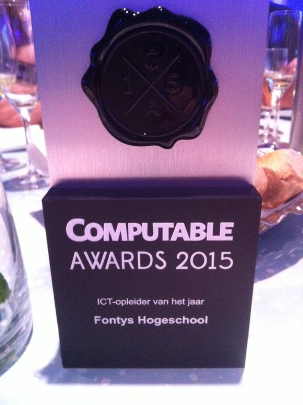 "Computable Award Fontys. Foto door <a href=""https://twitter.com/anneliesmoors"">Annelies Moors,/a> via Twitter"