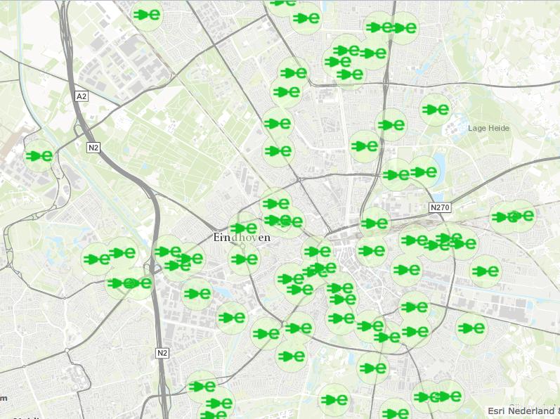 Eindhoven telt nu al 75 laadpalen. Klik op de foto voor een interactieve versie van deze kaart