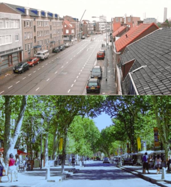 De Geldropseweg: hoe het is en hoe het volgens het burgerinitiatief zou kunnen zijn.