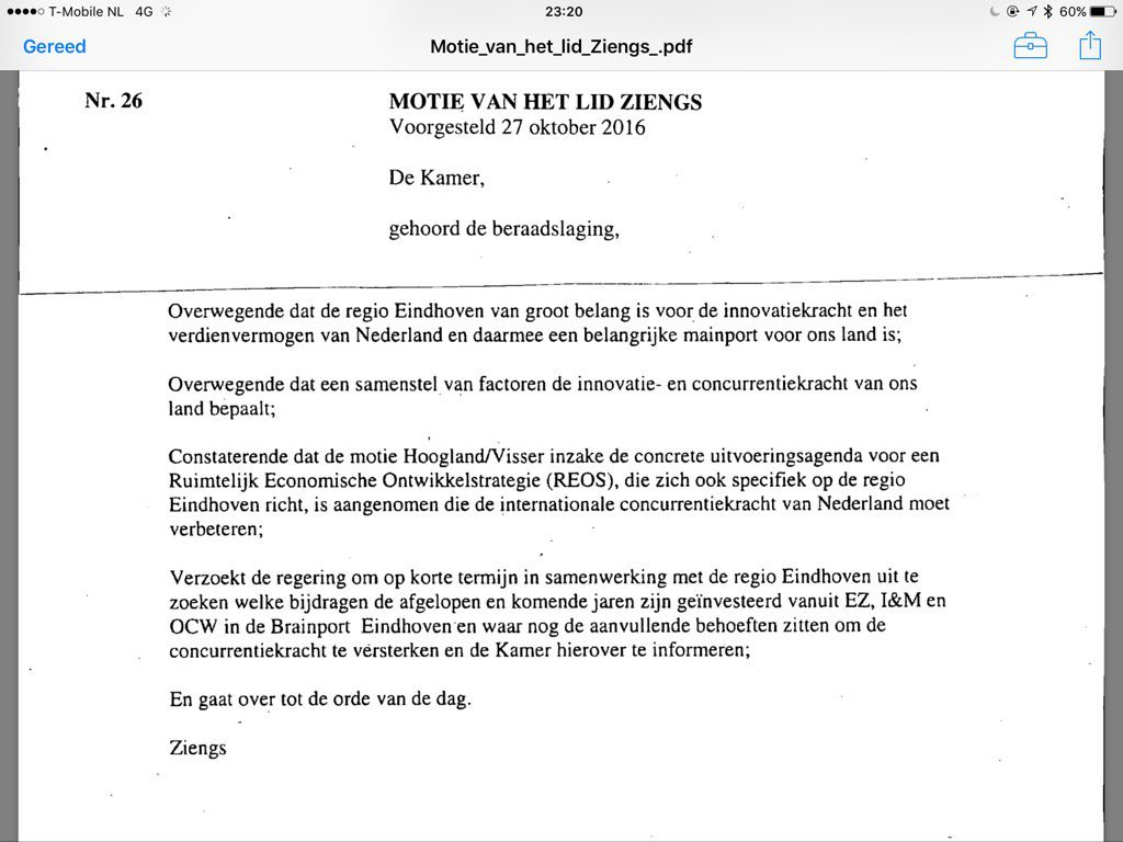 Motie Ziengs VVD
