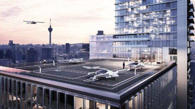Flugtaxis am Muenchener Hauptbahnhof