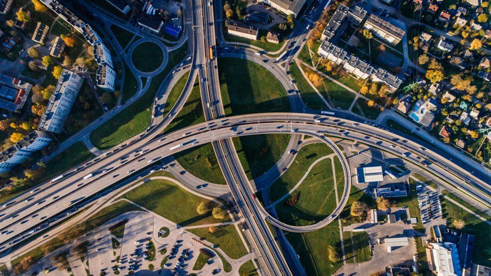 Blick auf Autobahnnetz