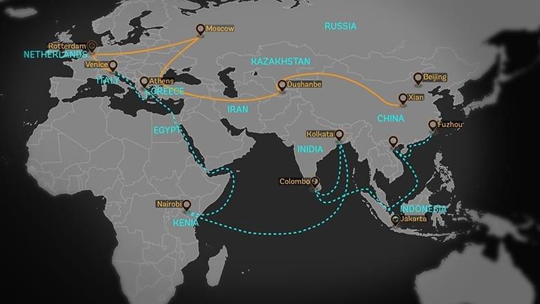 kaart van de nieuwe zijderoute