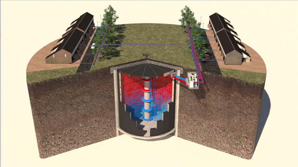 Darstellung eines unterirdischen Wassertanks. Mit der Entwicklung des Start-ups Ecovat lassen sich Häuser wärmen oder kühlen.