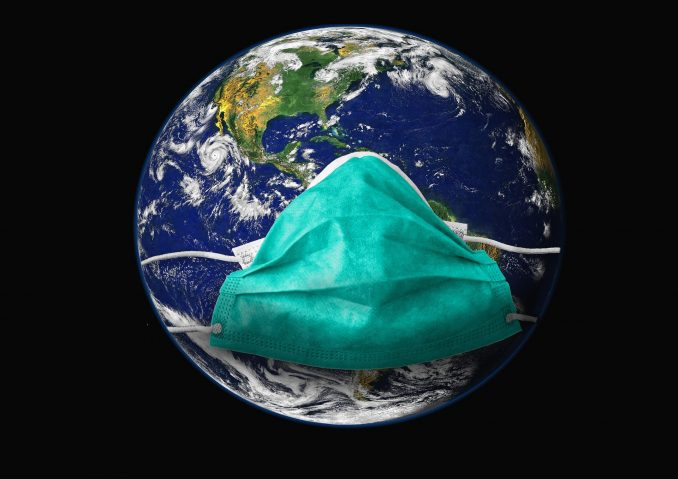 Erde mit Mundschutz - Covid-19