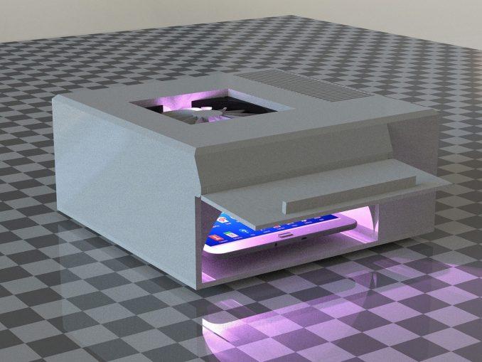 Mit dem grauen Gerät, das aussieht wie ein Drucker lassen sich Handys desinfizieren.
