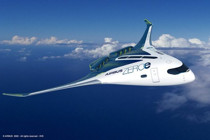 This image has an empty alt attribute; its file name is AirbusZEROe-Blended-Wing-Body-Concept-678x452.jpg